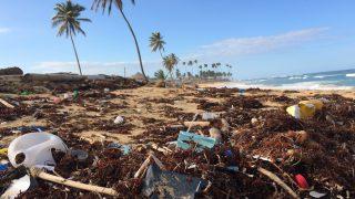 Wegwerpplastic op een strand